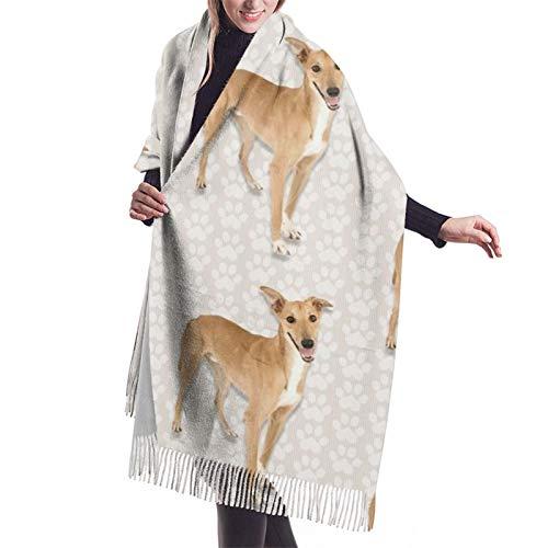 Bufanda de otoño invierno para mujer galgo clásico bufanda cálida suave grande manta abrigo chal bufandas
