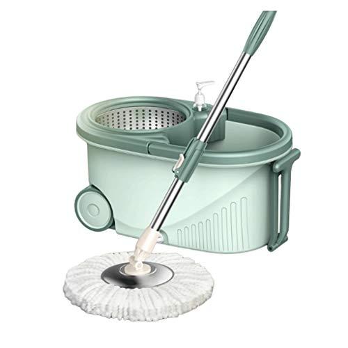 Kiki Fregona giratoria 360 ° de Spin Mop Sistema de Doble accionamiento Giratorio fregona Cubo de fregona automática la Limpieza del Piso 49 inchs extendido Mango - Verde limpiando Suministros