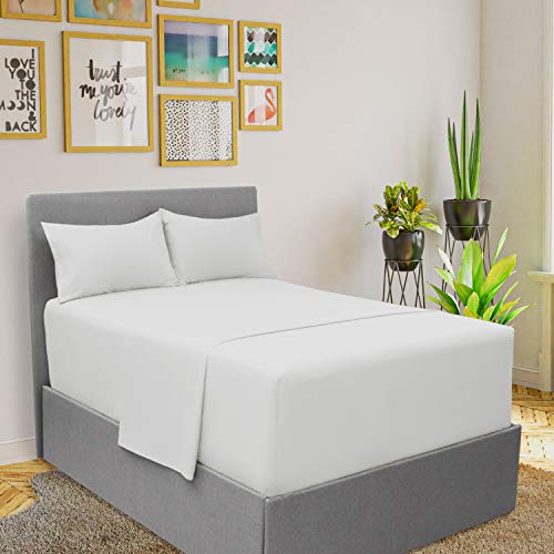 Price comparison product image Mellanni Extra Deep Pocket Sheets - King Size Sheet Set - 4 Piece 1800 Brushed Microfiber Bedding with Extra Deep Pocket Fitted Sheet - Easily Fits 18-21 inch Mattress (King,  White)