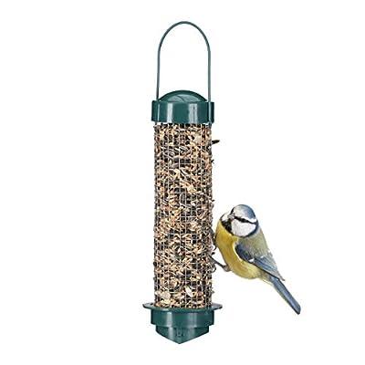 Relaxdays Wild Bird Feeder, Food Dispenser to Hang, Balcony or Garden, PP+Iron, Food Silo H x D: 35 x 9 cm, Green by Relaxdays