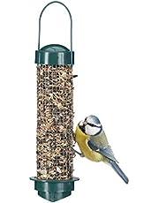 Relaxdays Comedero Pájaros para Colgar en la Terraza, Balcón o Jardín, Polipropileno y Hierro, Verde, 35 x 9 cm