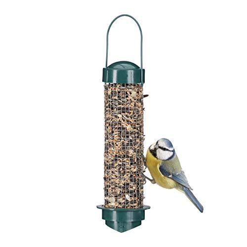 Relaxdays Vogelfutterstation zum Aufhängen, Balkon u. Garten, für Wildvögel, PP+Eisen, Futtersilo H x D: 35 x 9 cm, grün