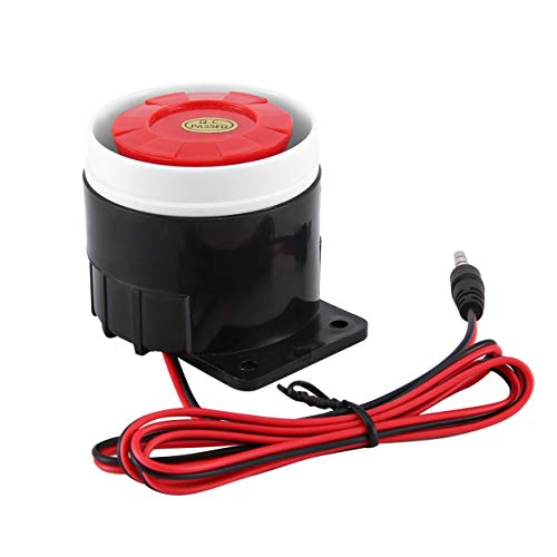 Shenykan DC Piezo Elektronischer Summer Alarm Sirene Sicherheitshupe 12V DC Elektronischer Summer Alarm Sirene Sicherheitshupe 120 dB Alarm Sirene - Rot-Schwarz