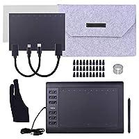 グラフィック描画タブレット,Funien 10x6インチプロフェッショナルグラフィック描画タブレット12エクスプレスキー、8192レベル、バッテリー不要のスタイラス/ 30個のペン先/ペンクリップ/ 2個のOTGケーブル/コピーフィルム/手触りフィルム/保護バッグ/グローブサポートPC/ラップトップ接続オンラインコース