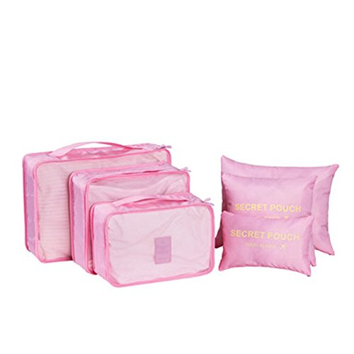 storage travels 6Pcs Waterproof Travel Storage Bags Clothes Packing Cube Luggage Organizer Pouch (Pink)
