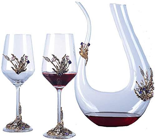 QZMX Decantador Decantador de vinos, soplado a Mano Free U Free U Forma de U Vino Rojo Aerador de Vino Carafé, Mejora de Sabor y Aroma del Vino Decantador de Vino de Cristal