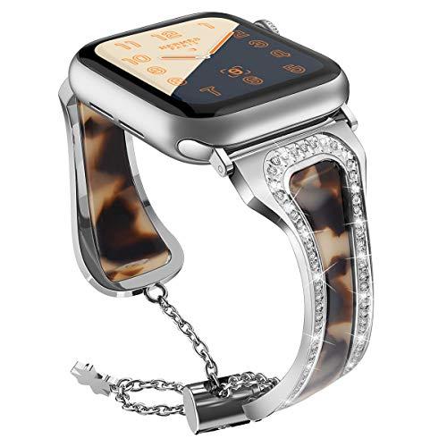 Xnhgfa Compatible para Correa Mujer Banda de Metal Ajustable con Diamantes de imitación para iWatch Series 5 4 3 2 1,Silver a,38MM/40MM