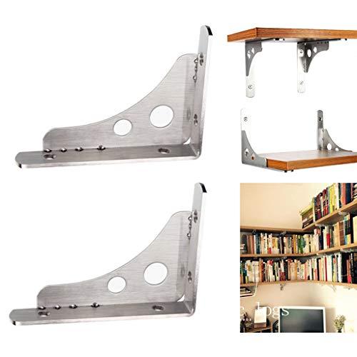 LING AI DA MAI RVS plankbeugels, zwevende wandgemonteerde plank, antiek houten wandplank, voor slaapkamer, badkamer, woonkamer, keuken (zilver)