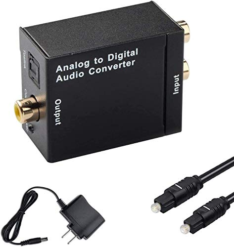 Hdiwousp RCA L/R Analog to Digital Optical SPDIF Coaxial Audio Converter Adapter with Toslink Cable...
