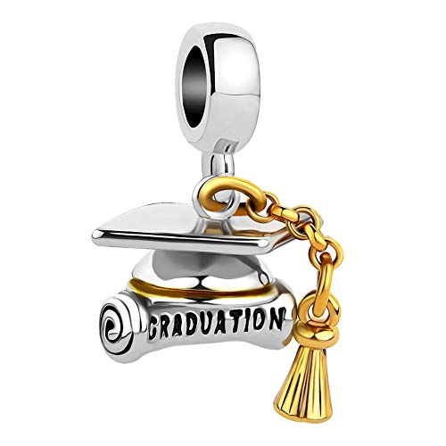 SexyMandala Graduation Hat Cap &Scroll European Style Pendant Charm Beads for Bracelets&Necklaces