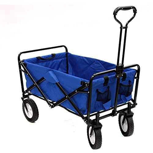 CHILD FENCE Carretillas de Carro Plegable Carro Playa Carro Transporte Plegable Carro de Mano Carro Jardin con 4 Ruedas Grandes para Jardín y Aire Libre Playa Carga hasta 80Kg,Azul