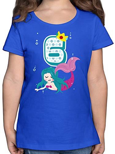 Geburtstag Kind - Meerjungfrau 6. Geburtstag - 128 (7/8 Jahre) - Royalblau - Kinder Shirt meerjungfrau 110 - F131K - Mädchen Kinder T-Shirt