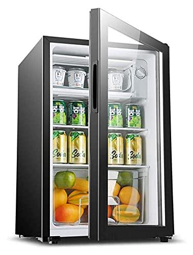 XBR Camping koelkast, mini koelkast 90L wijn drankkoeler met LED licht slot en sleutel gekoeld bevroren micro voor 220V (grootte: 44x43x68cm)