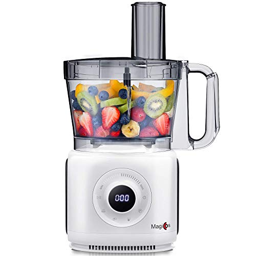 Magiccos Food Processor, 14 Cup Digital Food Chopper, With 7 Chopping Kneading Shredding Slicing and Mashing Blades,7 Variable Speeds Plus Pulse, 1000Watt, Pear White Coating