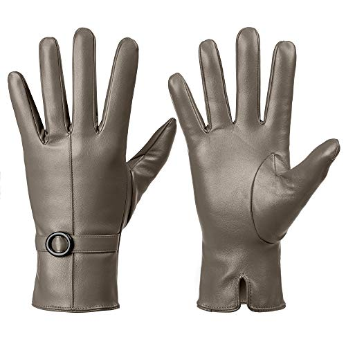 Womens Winter Leather Touchscreen Texting Warm Driving Lambskin Gloves 100% Pure (7.5(L), Khaki)