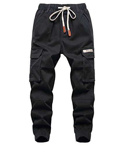 YoungSoul Jungen Jogger Hose Slim Fit Stretch Kinder Cargo Jogginghose mit Gummizug Schwarz 152-158/Größe 160