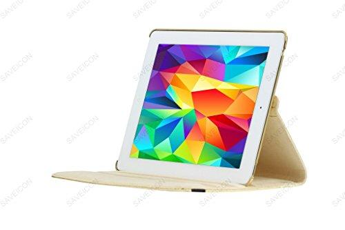 SAVEICON (TM) 360 Degrees Rotating Crocodile Skin PU Leather Case Smart Cover with Stand and Sleep/Wake Function for Apple iPad 4 with Retina Display, iPad 3, iPad 2 (Gold) Photo #4