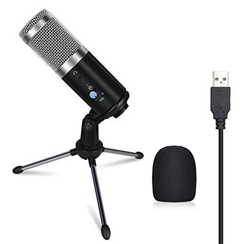 Anpro USB Mikrofon, Laptop Mikrofon Kondensator Mikrofon + Ständer für Aufnahme und Streaming, Konferenz, YouTube-Videos