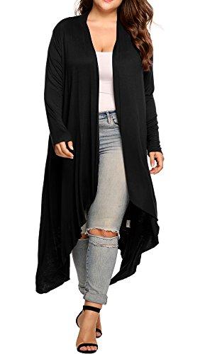 Women's Plus Size Long Sleeve Waterfall Asymmetric Drape Open Long Maxi Cardigan (Black, 5XL)