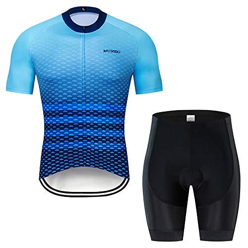 YDJGY 2019 Team Aqua Blau Fahrradbekleidung Bike Trikot Quick Dry Herren Fahrrad Sommer Radtrikot Set