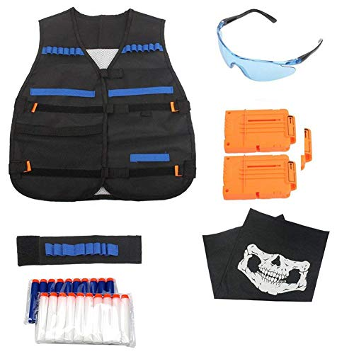 Kinder Taktische Weste Jacket Set Kit für Nerf Gun N-Strike Elite Serie, Tactical Weste Jacke Kit Für Nerf Zubehör Mit 20 Nachfüllpfeilen, 2 Stück 6-Dart Quick Reload Clips, Ammo Halter, Schutzbrille,