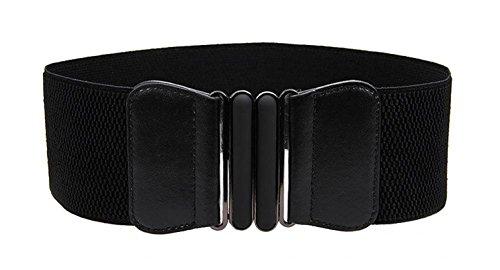 VOCHIC Wide Elastic Plus Size Belt for Women Cinch Waist Belt Stretch Waistband, Black, S-M(25'- 30')