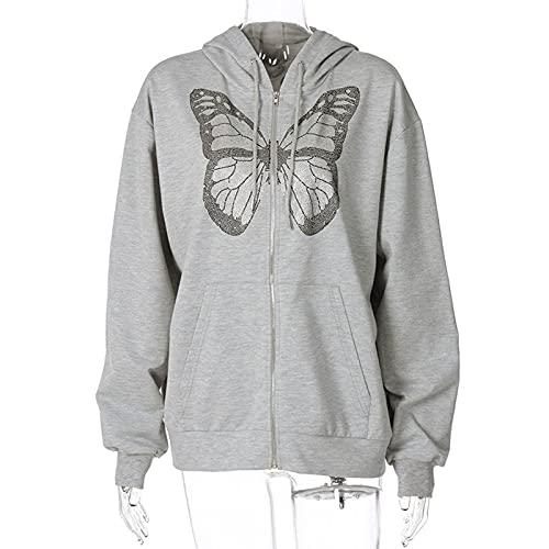 Yokbeer Women Zip Up Hoodie Y2k E-Girl Oversized Drawstring Long Sleeve Loose Sweatshirt Punk Goth Streetwear Jacket with Pockets (Color : Gray, Size : L)