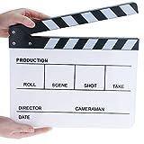 Hilitchi Acrylic Clapper Board Wooden Film Movie Clapboard Cut Action Scene Clapper Board Plastic Slate 25x30cm/10x12'