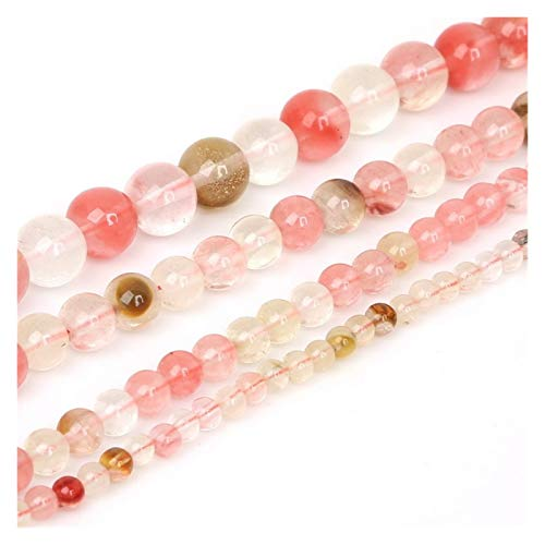 JINSUO NWXZU 4 6 8 10mm Natural Stone Beads Matte Lava Tiger Eye Red Black Loose Stone Beads For Jewelry Making DIY Bracelet Necklace (Color : Watermelon color, Size : 8mm/48Pcs)