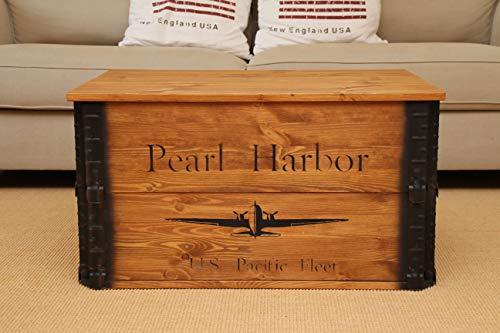 Uncle Joe´s Truhe Pearl Harbor Couchtisch Truhentisch im Vintage Shabby chic Style aus Massiv-Holz in braun mit Stauraum und Deckel Holzkiste Beistelltisch Landhaus Wohnzimmertisch Holztisch nussbaum - 3