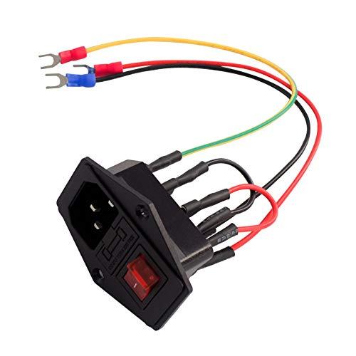 Aibecy Accesorios de impresora 3D Interruptor de fuente de alimentación Enchufe 10A 250V Interruptor basculante con cable fusible Enchufe tipo U para impresora 3D,1pcs
