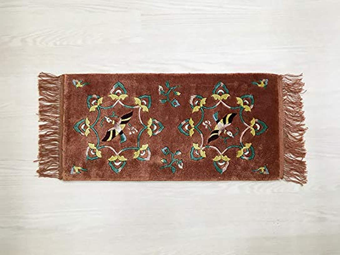 左許可する海峡中国 手織り緞通(段通) 玄関マット 絨毯(じゅうたん) カーペット ラグ 「八弁花鳥文」約31×65cm ブロンズ dt-a138