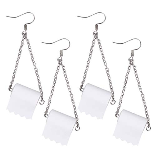 EXCEART 2 Pairs Rolle Papier Ohrring Wc Ohrringe Haken Lustige Rolle Ohrringe Haken Ohr Draht für Ohrring Decor