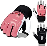 BOOM Prime Leather Body Combat Gel Guantes MMA Neopreno Boxeo Saco de boxeo Artes marciales Muay Thai Grappling Training Sparring UFC Kickboxing Strike Karate Mitts, Rosa, M