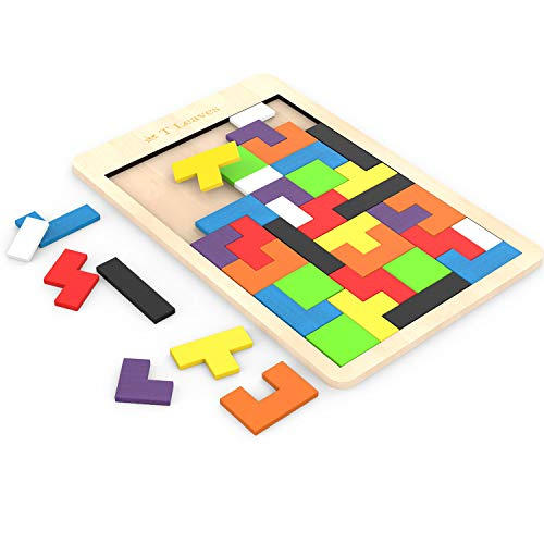 T Leaves Wooden Puzzles, Fun Colorful Puzzles Toys for Kids