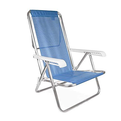 Cadeira Reclinável Mor 8 Posições Azul Alumínio
