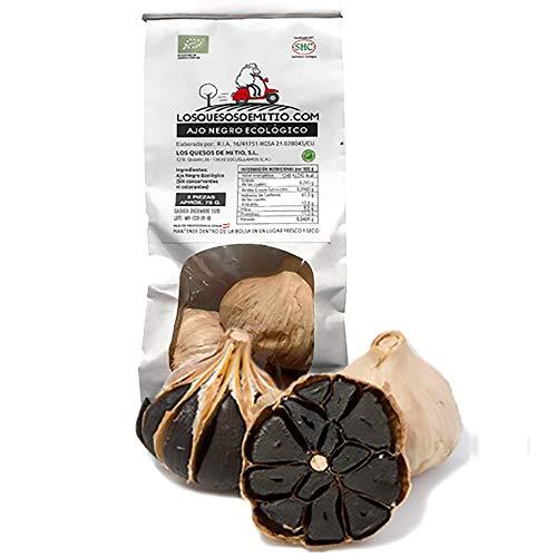Ajo negro ecológico español de máxima calidad (3 cabezas de ajo negro al natural, aprox 85g), antioxidante y energizante natural con sabor a regaliz, textura blanda, agricultura ecológica de Losquesosdemitio (La Mancha)