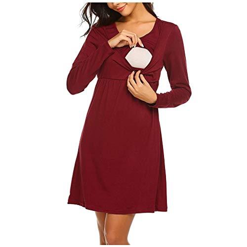 Gugavivid Schwangerschafts-Stillkleid für Frauen, Mutterschafts-O-Ausschnitt Langarm-festes Still-Nachtwäsche-Kleid(Wine,L)
