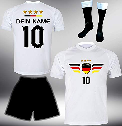 DE-Fanshop Deutschland Trikot Set 2018 mit Hose & Stutzen GRATIS Wunschname + Nummer im EM WM Weiss Typ #DE4ths - Geschenke für Kinder Erw. Jungen Baby Fußball T-Shirt Bedrucken