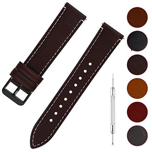 Fullmosa Uhrenarmband Leder mit Schnellverschluss, Wax Oil Serie in 20mm,Kaffee+Rauchgraue Schnalle