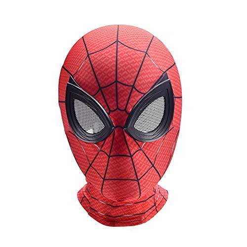 MYYLY Spiderman Copricapo Cosplay Avengers Bambini Costumi da Supereroe Lycra Viso Cappuccio Lenti Regalo Bambini Halloween Maschera Tuta,Red-Kids~One Size