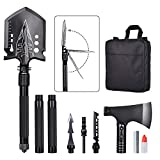 Camping Axe and Survival Shovel – Stainless Steel Multi-Tool Folding Shovel and Survival Hatchet – Equipment for Outdoor, Hiking, Hunting, Emergency, Backpacking (Black)