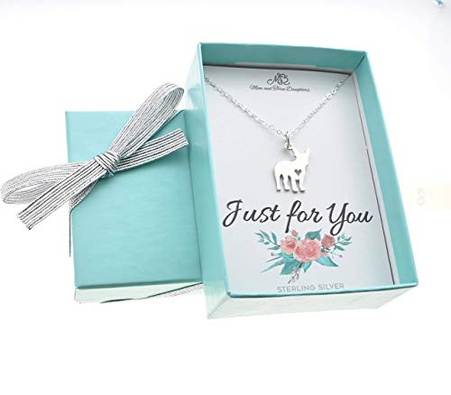 French Bulldog Charm Necklace in Sterling Silver | 18 Inch Cable Chain | Fabulous Gift for French Bulldog Owner