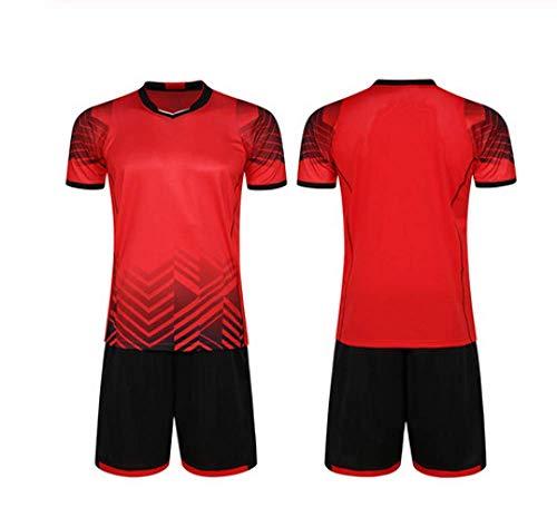 XIAOL Survêtement Football 2019 Männer Fußball Trikots Set Leer Fußballmannschaft Trainingsanzüge Schnell Trocken Kurze Uniformen Design-Kits,Red-XXL