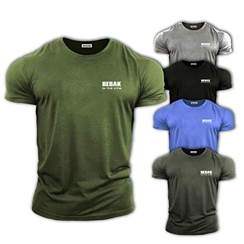 Gym Kleidung für Männer Gym T-Shirt Bodybuilding T Shirts Gym Kleidung - BEBAK Workout Top Training Tops Arnold Schwarzenegger Inspired Design T Shirt MMA (Military Green, XL)