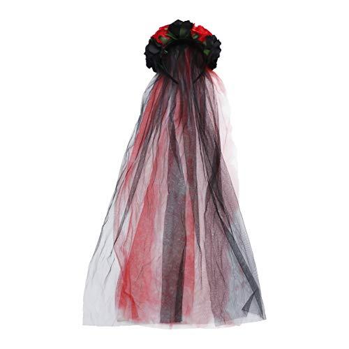 Lurrose Diadema de Velo Rosa de Halloween Gasa de Poliéster Encaje Gótico...