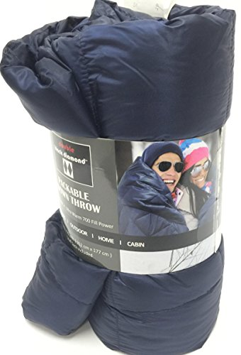 Double Black Diamond Packable Down Throw - Ultra Light 60 Inch X 70 Inch, Stuff Sack Included (Navy Blue)