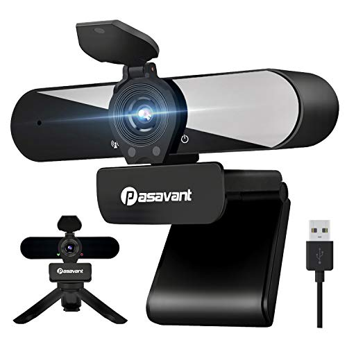 Pasavant 2K Webcam mit Mikrofon, Abdeckung, Stativ, Lichtkorrektur USB 1440P Full HD Plug & Play Webcam für PC/Laptop/Computer/Video Chat/Videokonferenzen/Online Unterricht/Skype