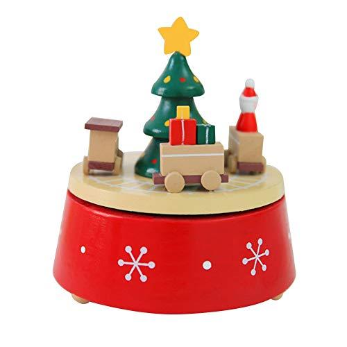 Fdit Scatola Musicale in Legno di Natale Artigianato in Legno Tavolo Squisito Ornamento Regalo di Compleanno Home Room Decorazione della Stanza(Trains)