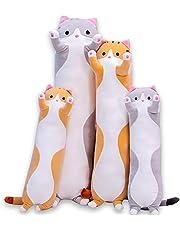 Leuke Kat Pluche Lange Lichaam Kussen Knuffel Cartoon Knuffels Kat Plushie Zachte Pop Kussens Cadeaus voor Kinderen Meisjes